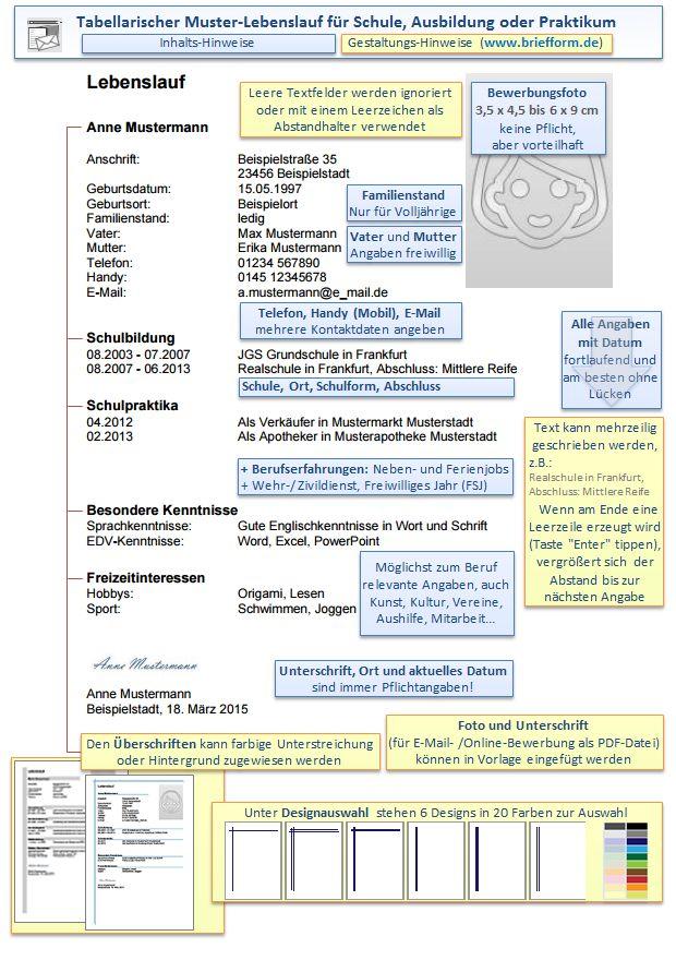 fr die bewerbung tabellarischer muster lebenslauf - Muster Lebenslauf Pdf